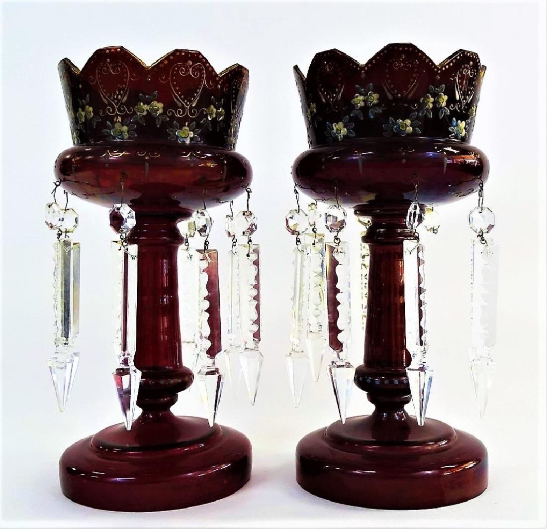 PR 19TH C. BOHEMIAN ENAMELED RUBY GLASS LUSTRES
