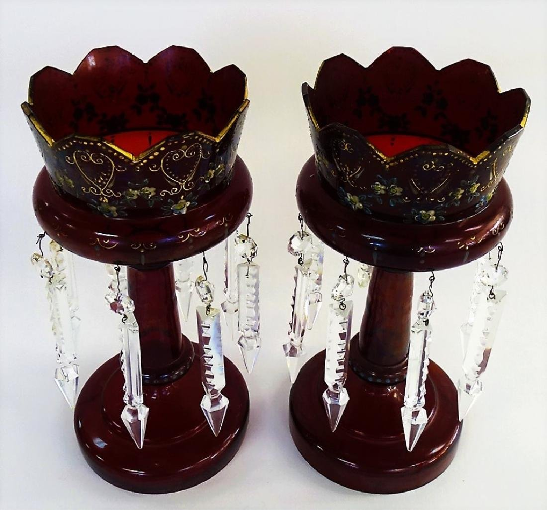 PR 19TH C. BOHEMIAN ENAMELED RUBY GLASS LUSTRES - 2
