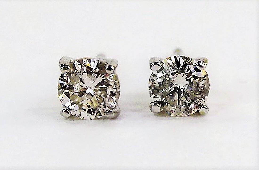 PR 14KT WHITE GOLD 1/2 CARAT DIAMOND EARRINGS