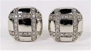 PR RETRO STYLE 14KT WG DIAMOND EARRINGS