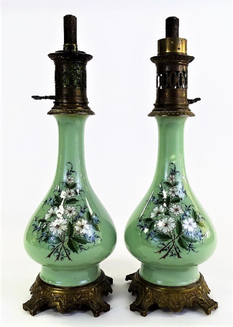 PR FRENCH CELADON PORCELAIN FLORAL OIL LAMPS