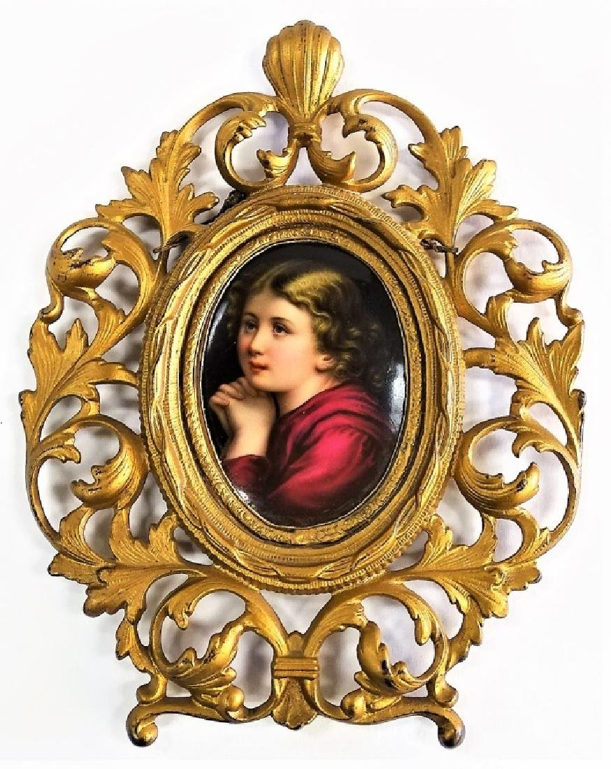 BRONZE MOUNTED KPM PORCELAIN PORTRAIT PLAQUE