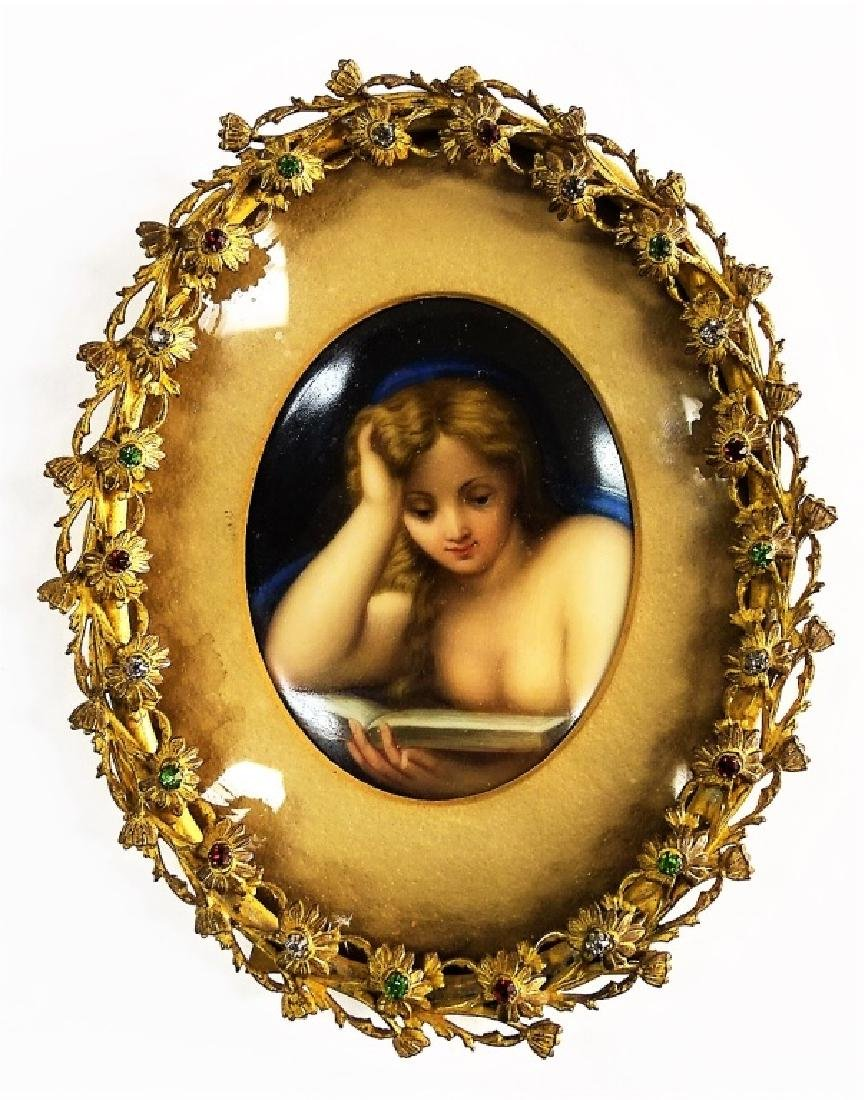 ANTIQUE FRAMED HAND-PAINTED KPM PORCELAIN PLAQUE