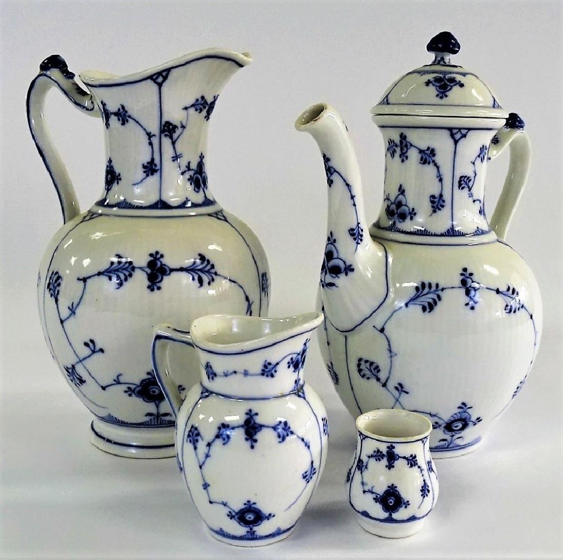 4PCS ROYAL COPENHAGEN BLUE & WHITE COFFEE SERVICE
