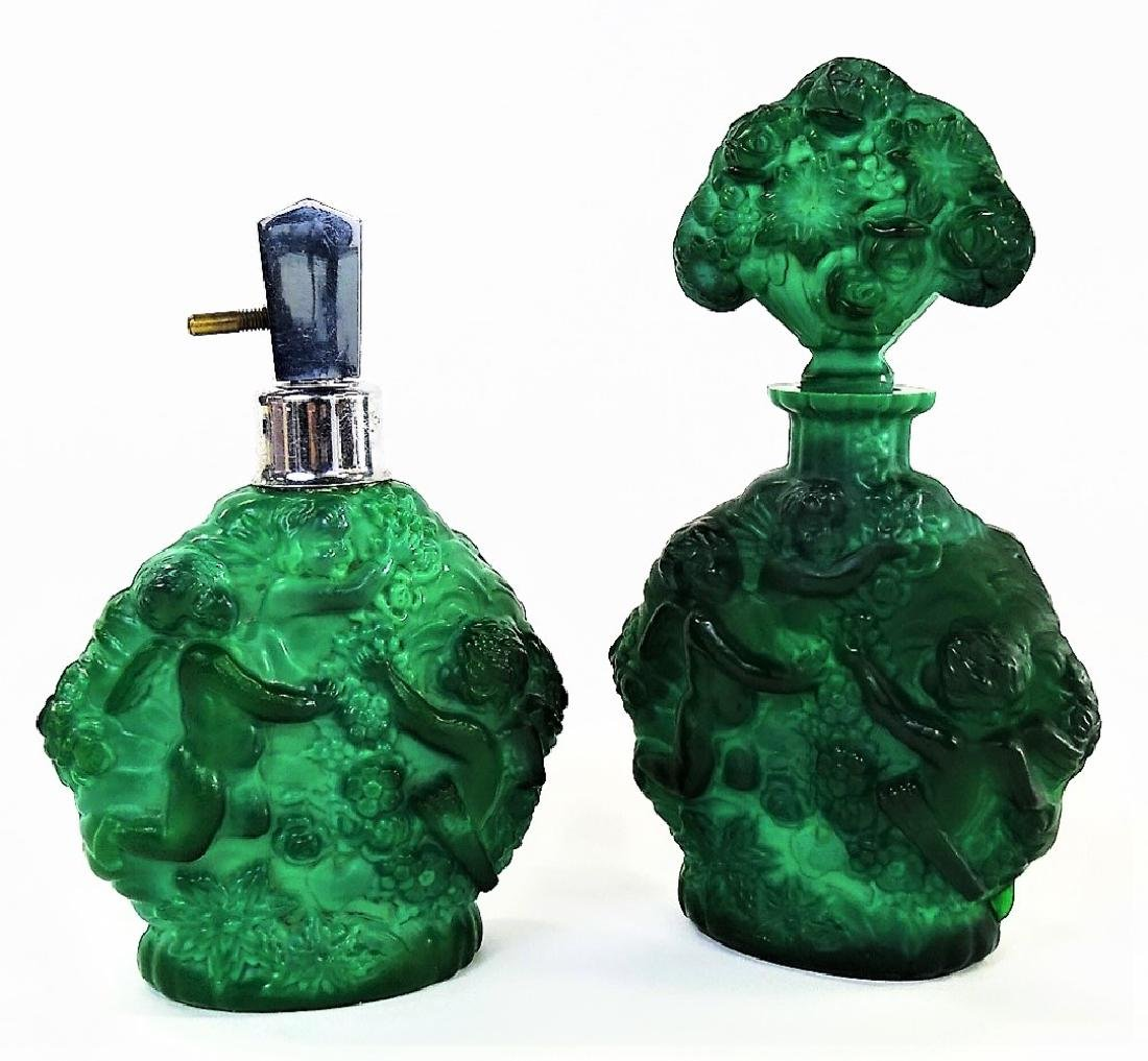 PR VINTAGE CZECH MALACHITE GLASS PUTTI BOTTLES