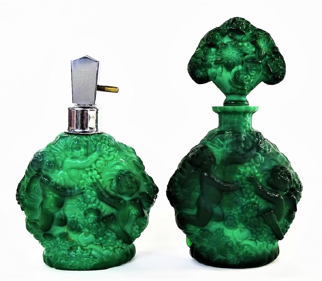 PR VINTAGE CZECH MALACHITE GLASS PUTTI BOTTLES - 3