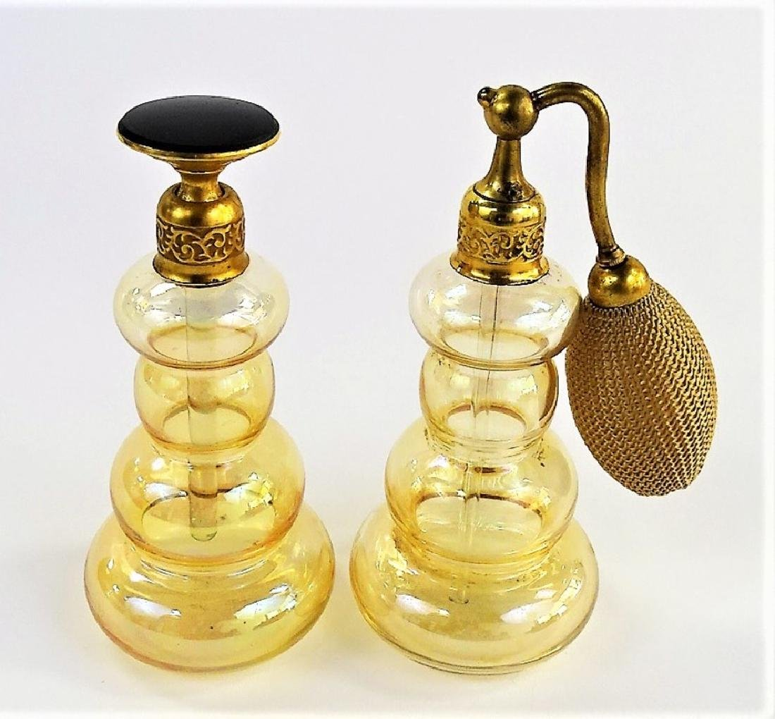 PAIR OF VINTAGE AMBER DEVILBISS PERFUME BOTTLES