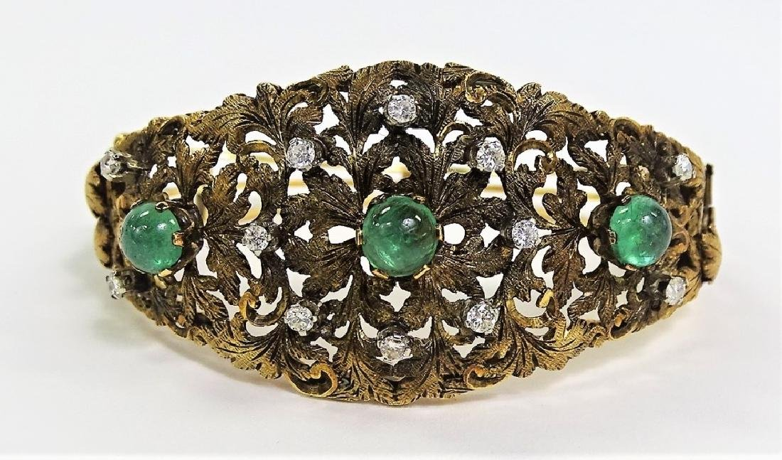 ESTATE 18KT GOLD 1CT DIAMOND .50 EMERALD BRACELET