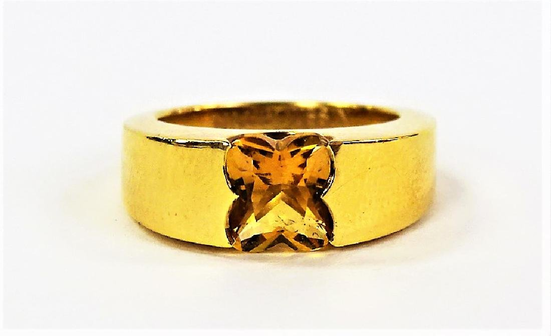 LADIES MAUBOUSSIN 18KT YELLOW GOLD CITRINE RING