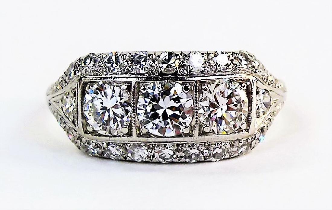 LADIES ESTATE PLATINUM & 1.25CT DIAMOND RING