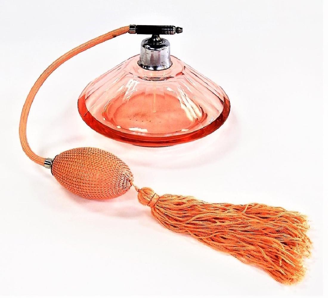 ANTIQUE CZECH PEACH GLASS ATOMIZER PERFUME BOTTLE