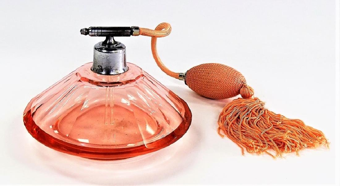 ANTIQUE CZECH PEACH GLASS ATOMIZER PERFUME BOTTLE - 2
