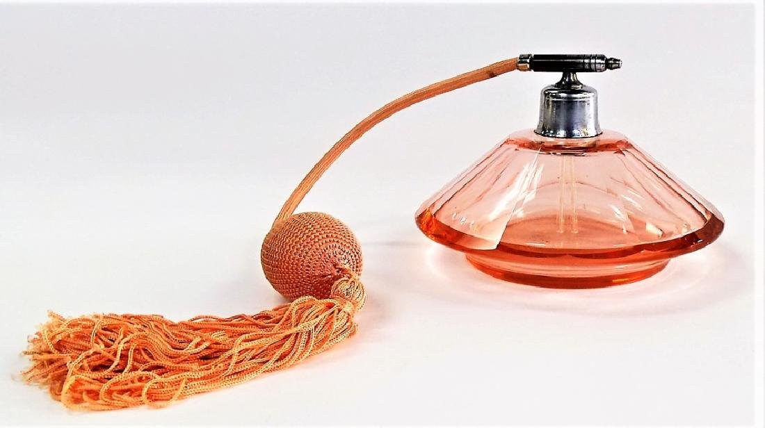 ANTIQUE CZECH PEACH GLASS ATOMIZER PERFUME BOTTLE - 3