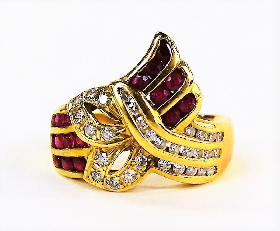 LADIES 18KT YELLOW GOLD RUBY & DIAMOND RING