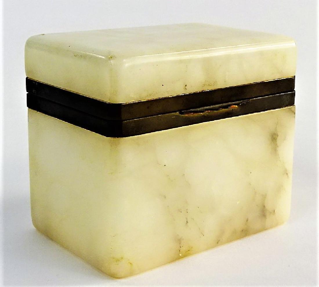 EARLY 20TH C. ITALIAN ALABASTER HINGED VANITY BOX