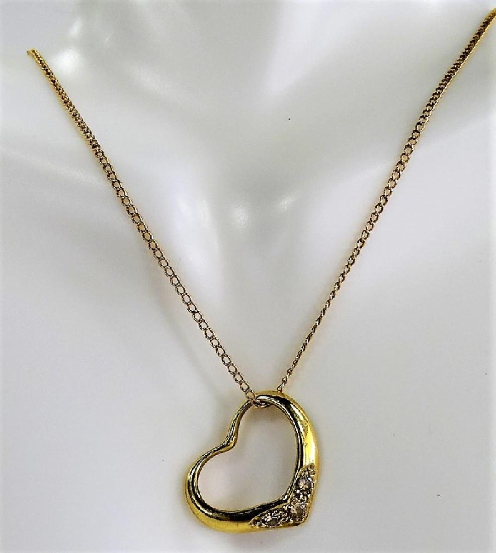 14KT YELLOW GOLD HEART CHARM PENDANT NECKLACE