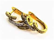 PR 14KT YELLOW GOLD DIAMOND SPIRAL HOOP EARRINGS