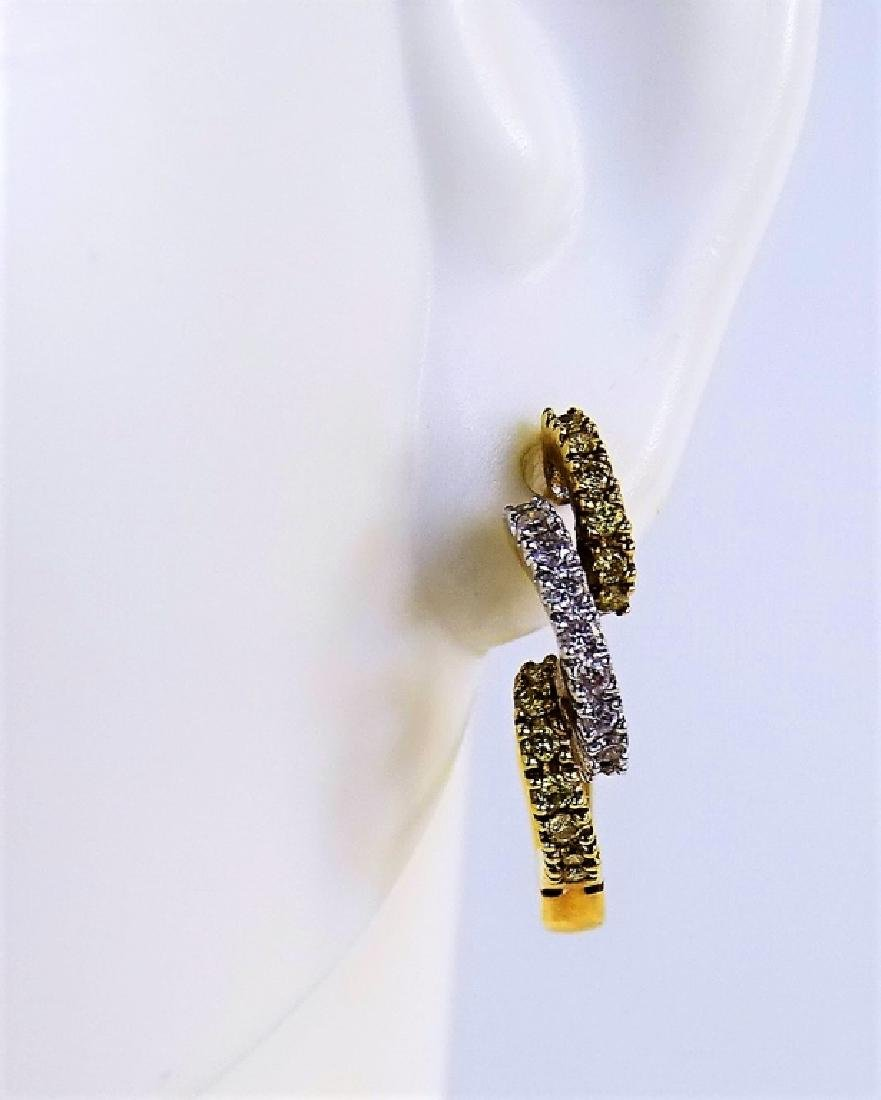 PR 14KT YELLOW GOLD DIAMOND SPIRAL HOOP EARRINGS - 4