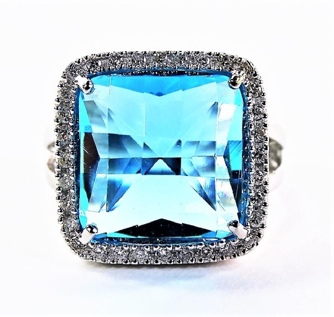 LARGE BLUE TOPAZ 14KT WHITE GOLD DIAMOND RING