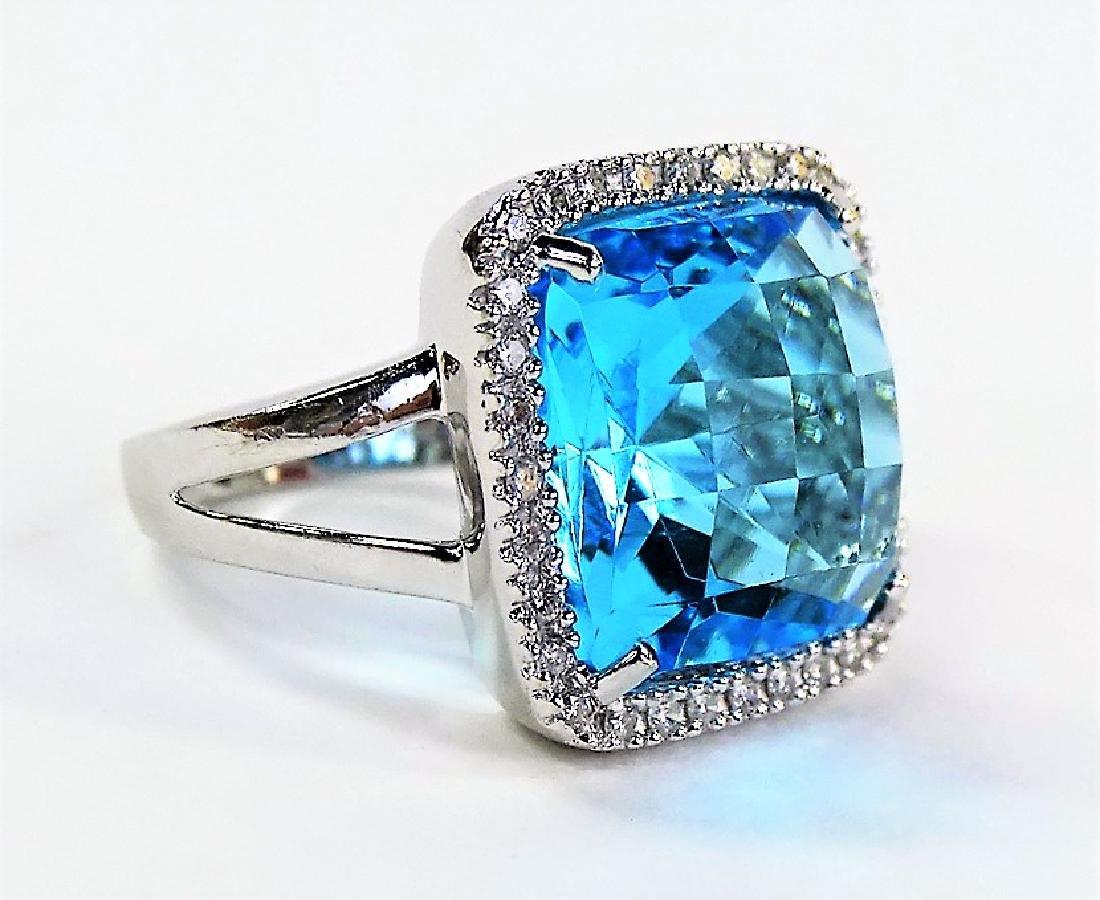LARGE BLUE TOPAZ 14KT WHITE GOLD DIAMOND RING - 2