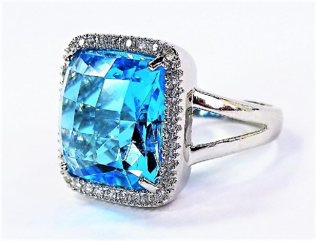 LARGE BLUE TOPAZ 14KT WHITE GOLD DIAMOND RING - 3