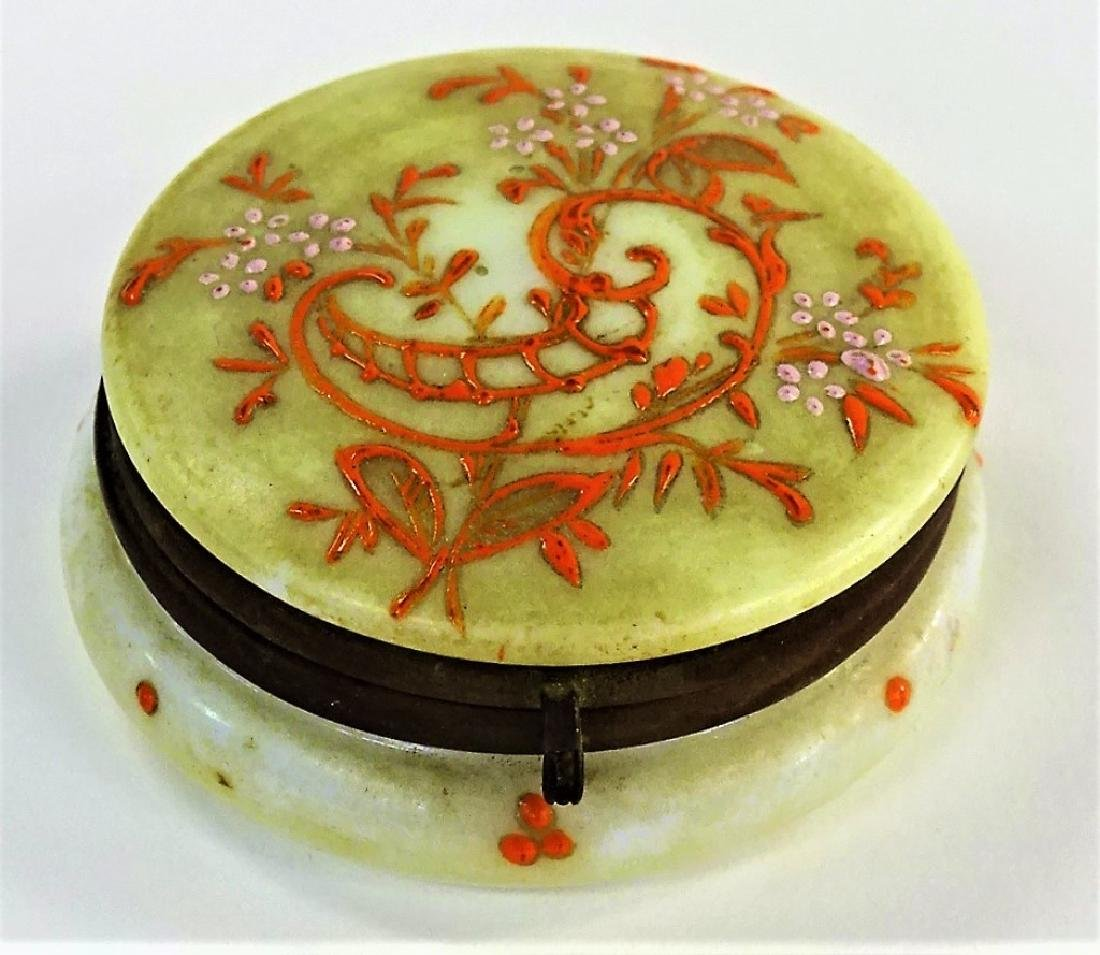 FRENCH ENAMELED MINIATURE GLASS DRESSER BOX