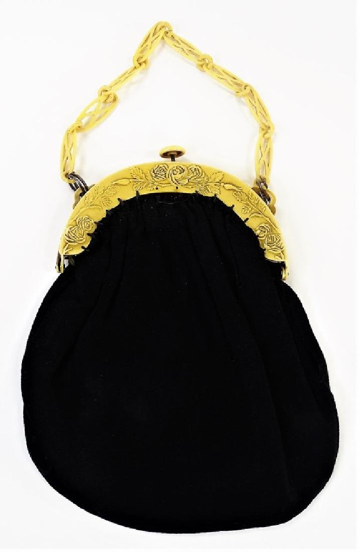 1920'S CELLULOID & CLOTH LADIES EVENING HAND BAG