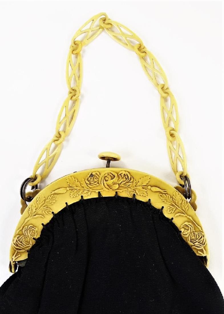 1920'S CELLULOID & CLOTH LADIES EVENING HAND BAG - 2