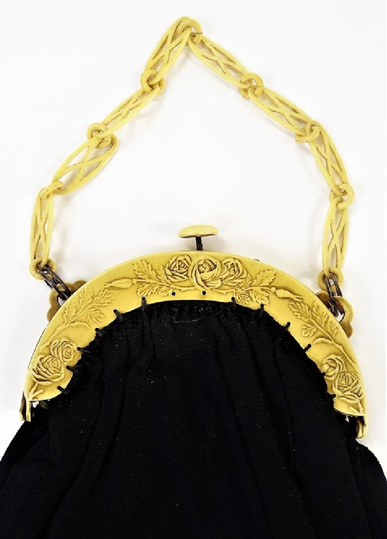 1920'S CELLULOID & CLOTH LADIES EVENING HAND BAG - 3