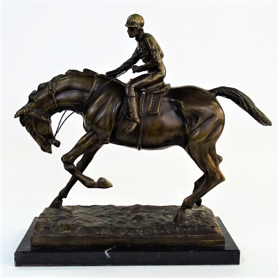20TH C. CAST BRONZE HORSE & JOCKEY SCULPTURE