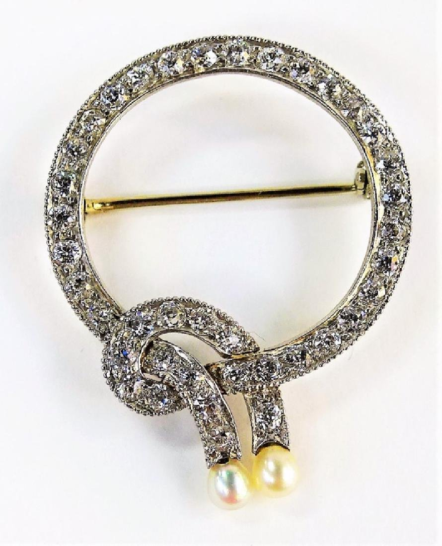 LADIES DECO PLATINUM DIAMOND & PEARL BROOCH
