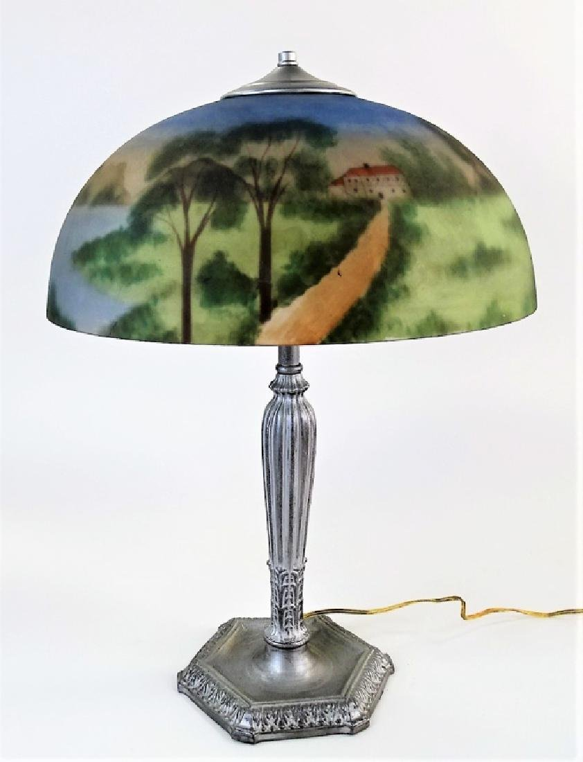 VTG AMERICAN REVERSE PAINTED SCENIC TABLE LAMP