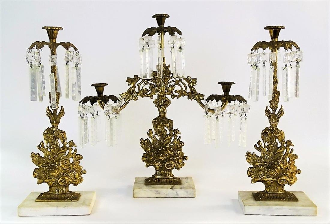 3PC ANTIQUE GILT BRASS GIRANDOLE CANDELABRA SET