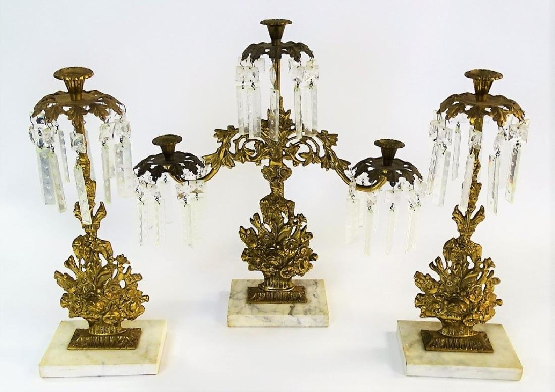 3PC ANTIQUE GILT BRASS GIRANDOLE CANDELABRA SET - 2