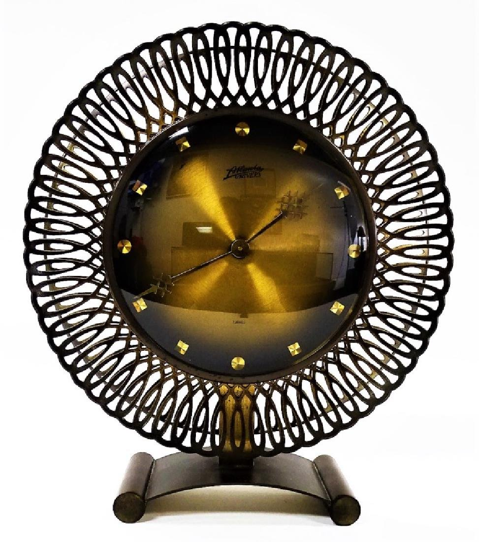RARE ART DECO ATLANTA UNIVERS BRASS SUNBURST CLOCK