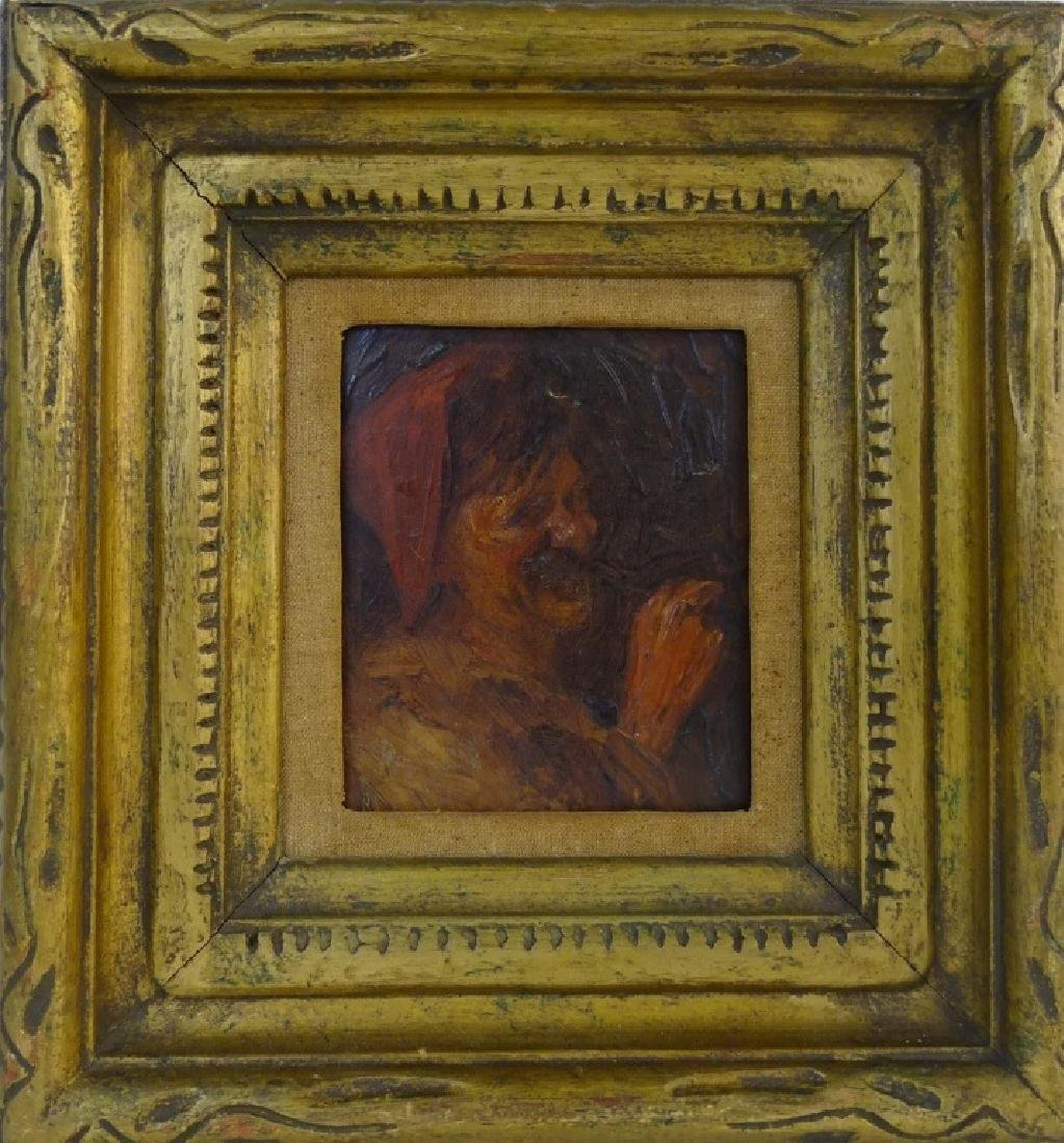 19TH C. CONTINENTAL OIL/PANEL PTG OF MAN W/ PIPE