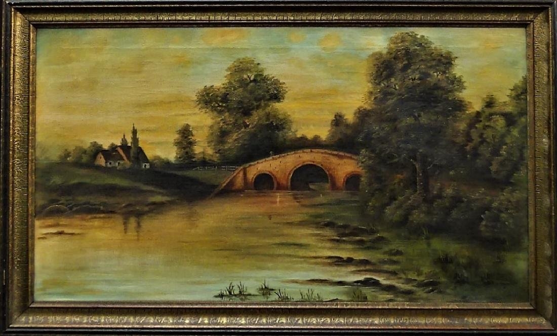 EARLY 20TH C. OIL ON CANVAS LANDSCAPE PAINTING