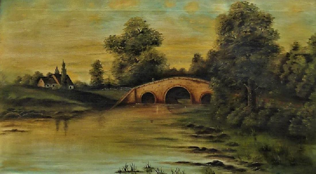 EARLY 20TH C. OIL ON CANVAS LANDSCAPE PAINTING - 2