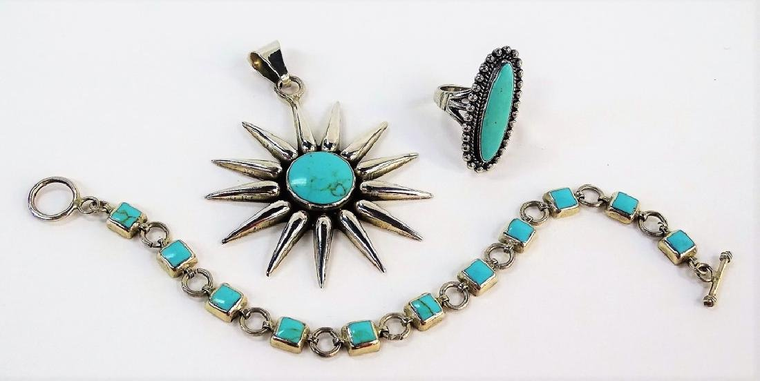 3PCS ASSORTED MEXICAN STERLING & TURQUOISE JEWELRY