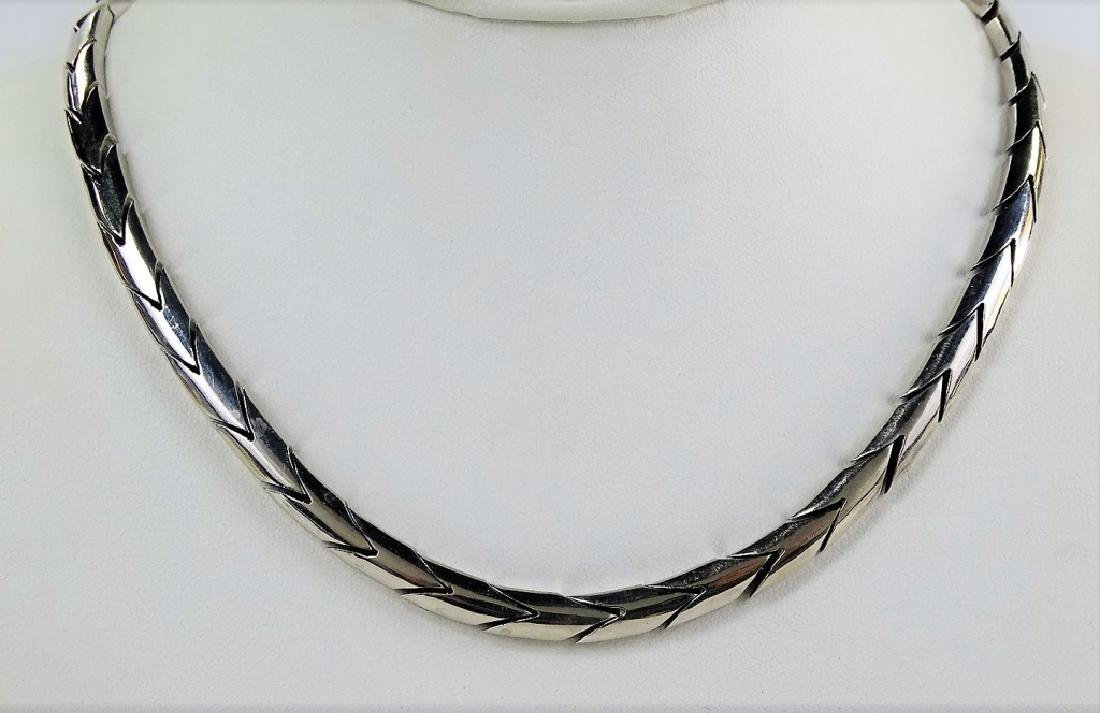 VTG MEXICAN STERLING SILVER CHAIN LINK NECKLACE - 2