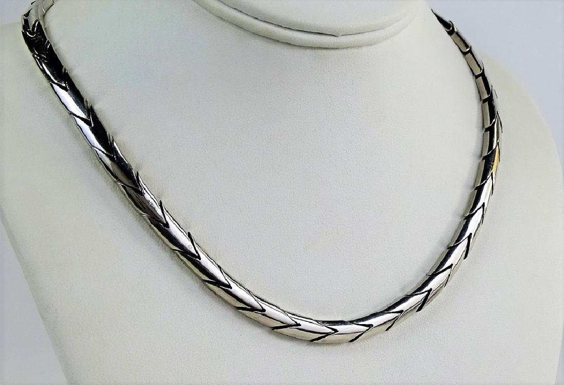 VTG MEXICAN STERLING SILVER CHAIN LINK NECKLACE - 3