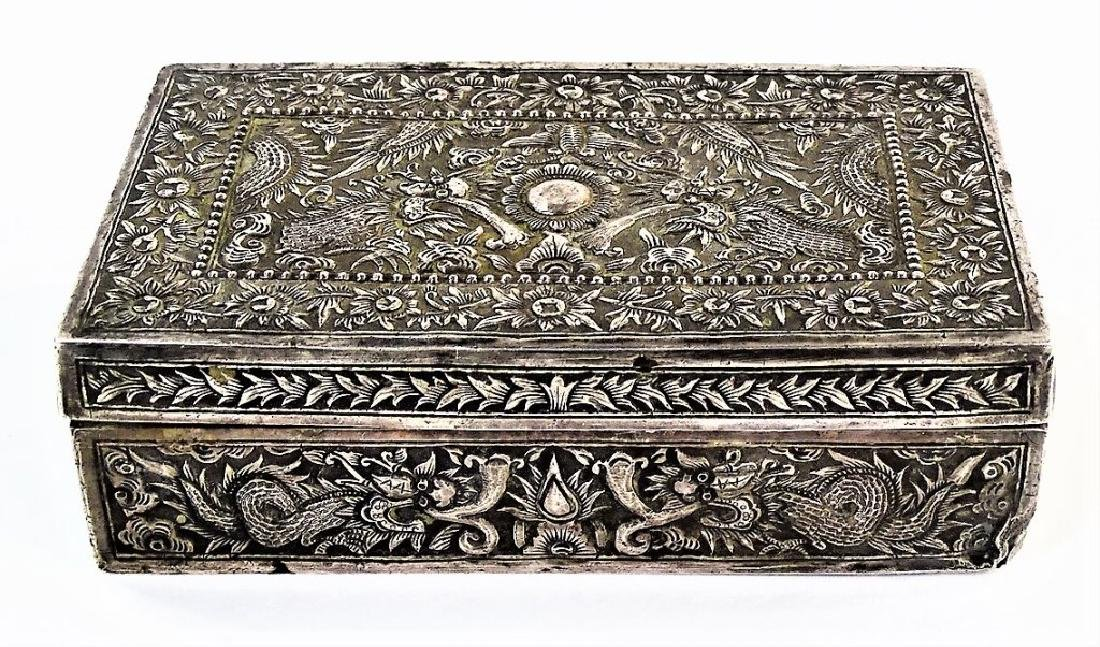 ANTIQUE IMPERIAL CHINESE SILVER 5-TOED DRAGON BOX