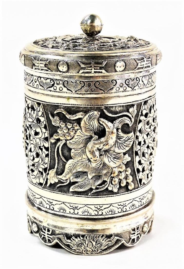 ANTIQUE CHINESE SILVER CYLINDRICAL FOOTED BOX