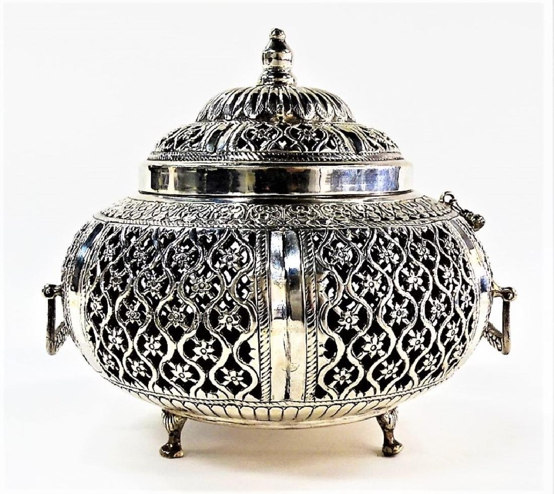 LARGE ASIAN PIERCED .800 SILVER COVERED POTPOURRI