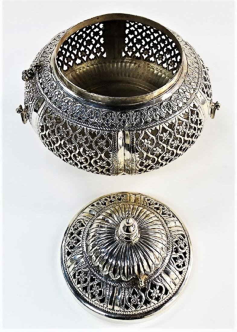 LARGE ASIAN PIERCED .800 SILVER COVERED POTPOURRI - 2