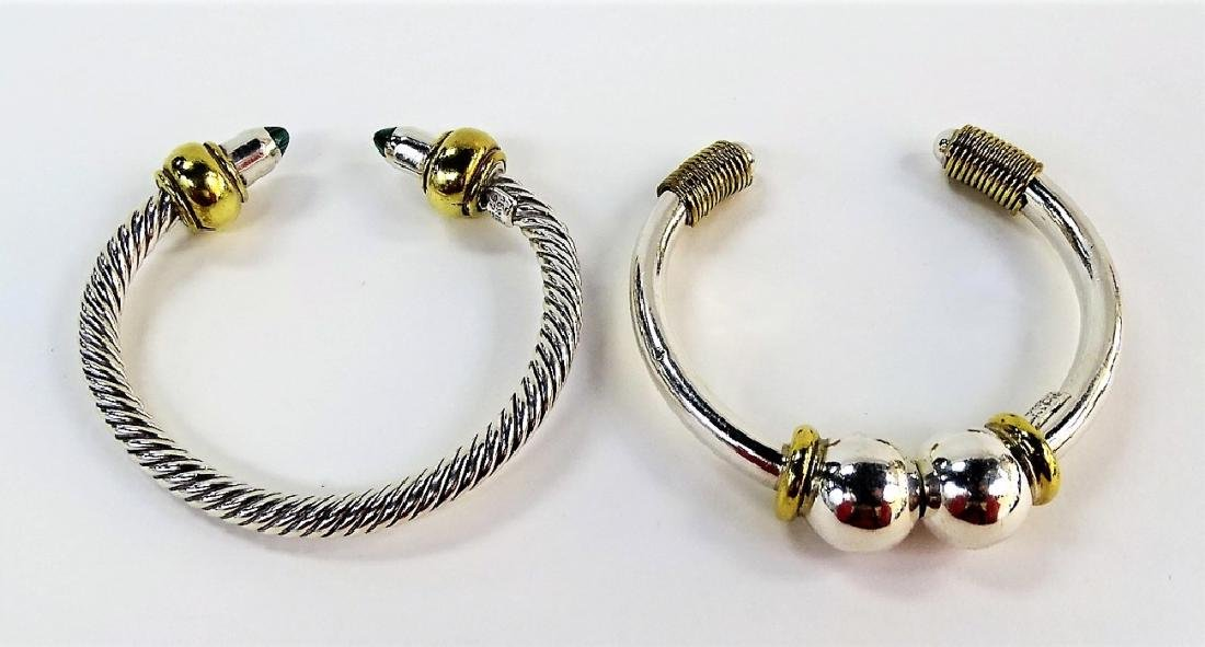 2 VTG MEXICAN STERLING SILVER BANGLE BRACELETS - 3