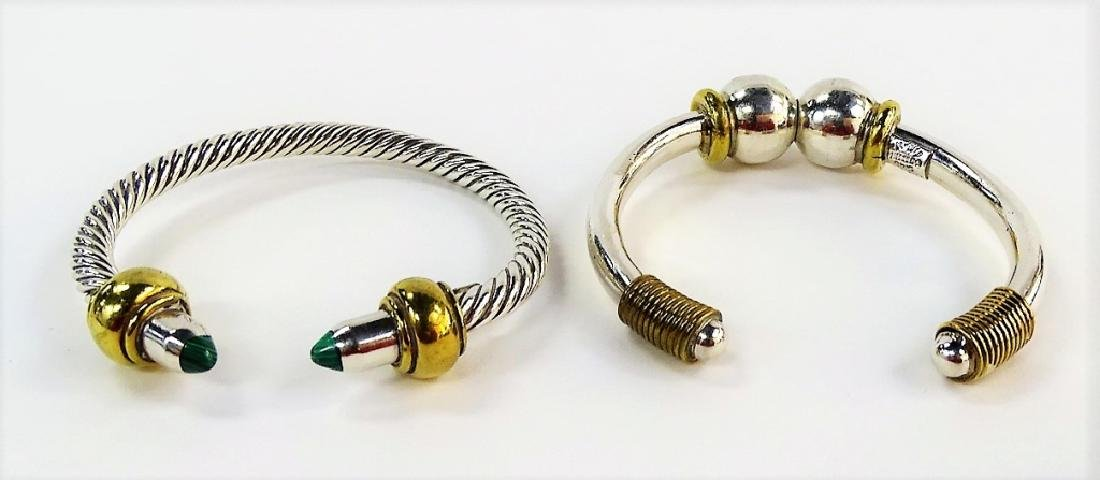 2 VTG MEXICAN STERLING SILVER BANGLE BRACELETS - 4
