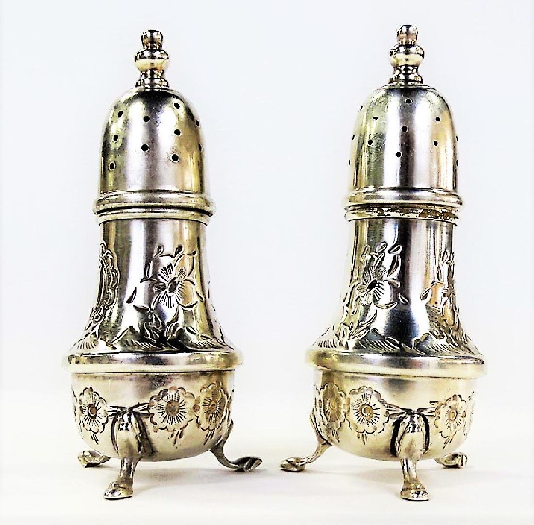 PR OF ANTIQUE B&M HAND CHASED STERLING SHAKERS - 2
