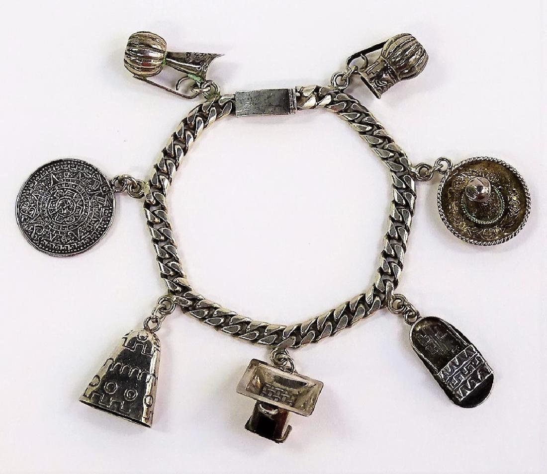 CASTELAN MEXICAN .925 STERLING CHARM BRACELET