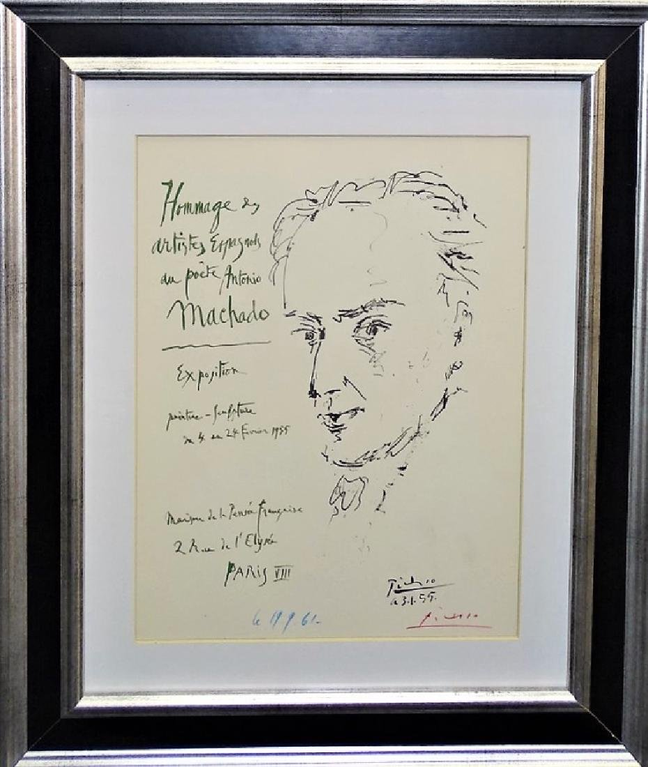 CRAYON SIGNED PABLO PICASSO OFFSET LITHOGRAPH